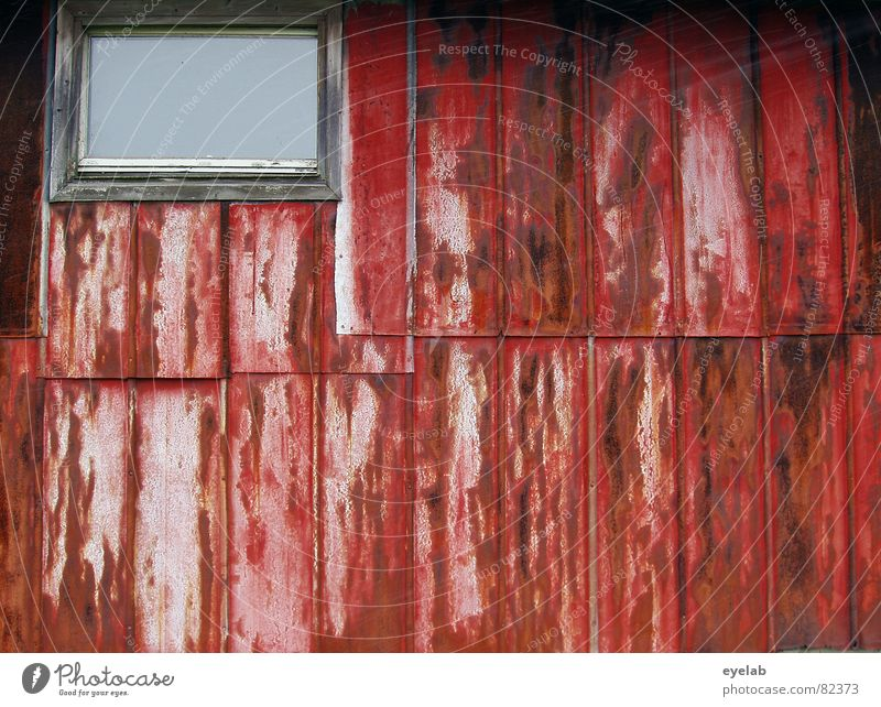 Love Shack (episode 2: Insight made more difficult) Wall (building) Tin Steel Rust Red Window Insolvency Barn Agriculture Decline Hut Pigsty Shed Derelict