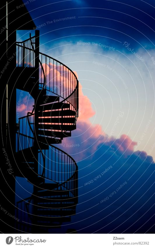 upward Ascending Multicoloured Red Clouds Dark Building Winding staircase Going Modern Above Upward Downward Stairs Sky Blue Handrail architecture Ladder