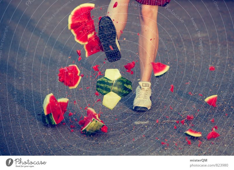WM euphoria. Art Work of art Esthetic Water melon Soccer World Cup Soccer player Soccer training Shoot Annihilate Broken Germany World champion Part Shiver
