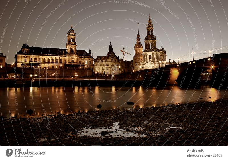 Water Calm Religion and faith Coast Bridge River Dresden Castle Historic Night Dome Puddle Elbe Blue sky Saxony Cathedral