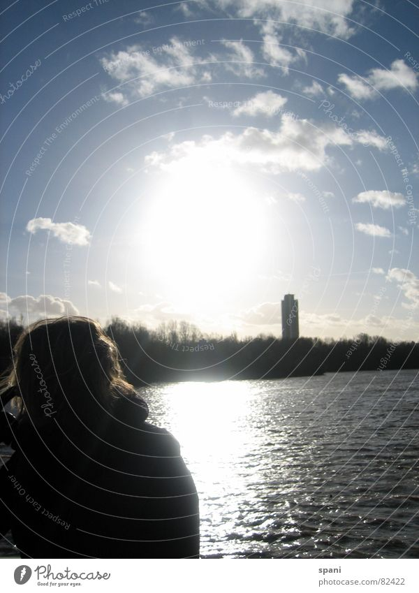 longing Lake Waves Clouds Horizon Woman Dreamily Long Disheveled High-rise Flashy Vantage point Longing Vacation & Travel Winter