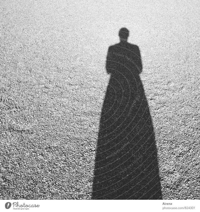 a shadow of myself Human being Feminine 1 Sand Sign Silhouette Threat Distorted Dark Sustained Simple Shadow play Black & white photo Exterior shot