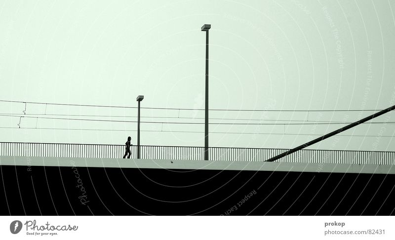 Silhouette Part 3 Fair Antisocial Loneliness Geometry Lamp Black Transport Road traffic Gloomy Deserted Bridge pier Line Remote Desolate Withdraw Marathon