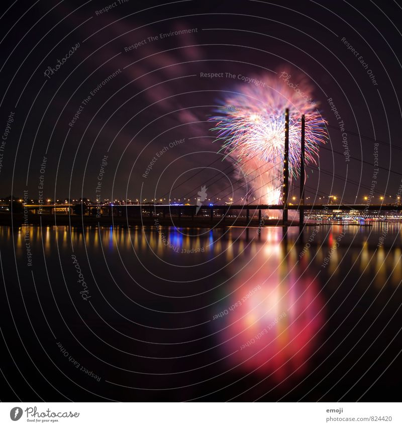 Düsseldorf Firecracker Public Holiday Night sky Town Skyline Bridge Exceptional Black Duesseldorf Colour photo Multicoloured Exterior shot Deserted