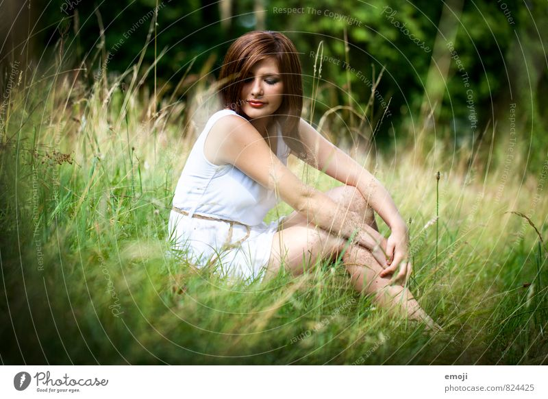 meadow Feminine Young woman Youth (Young adults) 1 Human being 18 - 30 years Adults Environment Nature Landscape Summer Beautiful weather Grass Garden Meadow