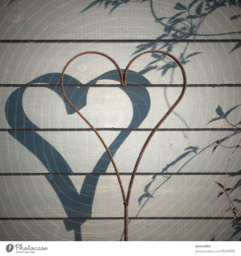 Sun in your heart Wood Metal Sign Ornament Signs and labeling Heart Design Love Rust Tendril Wooden wall Gray Colour photo Subdued colour Exterior shot Close-up