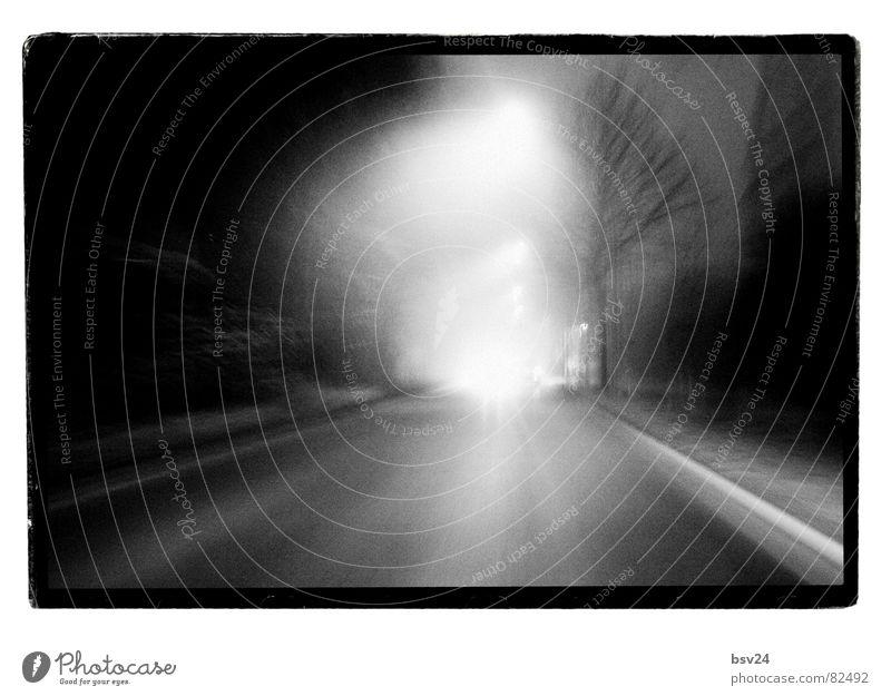 speedway Speed Black Lantern Light Fog Dreary Morning Acceleration Direct Pavement Road traffic Driving Asphalt Black & white photo transit Gloomy