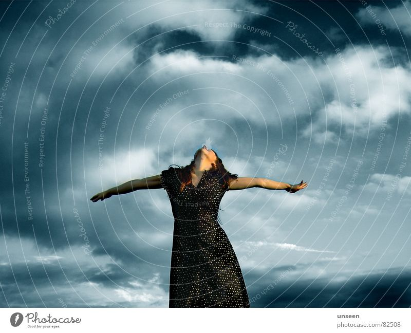all things Freedom Summer Woman Adults Arm 1 Human being Sky Clouds Dress Breathe Stand Dance Esthetic Happy Infinity Beautiful Feminine Blue Moody Joy