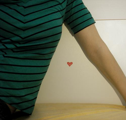 heart. Green Stripe Triangle Bed White Yellow Woman Love Bedroom Heart