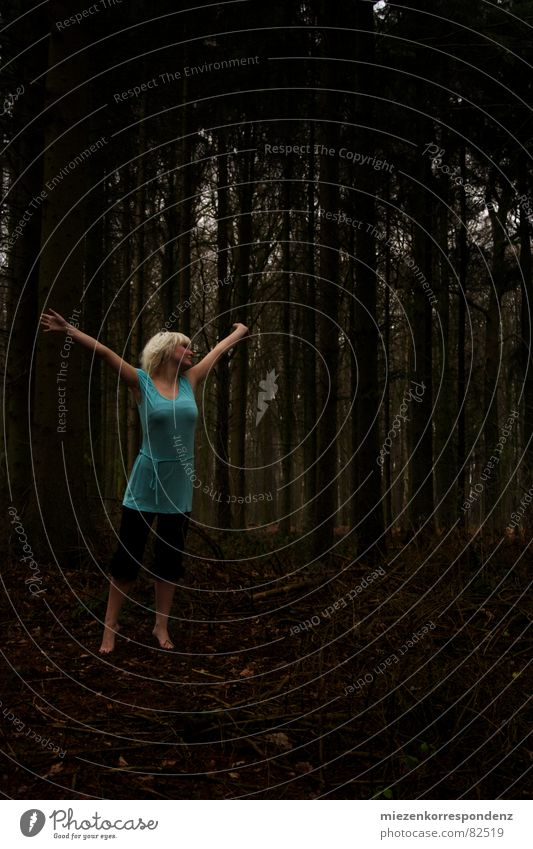 Forest Mider Joy Happy Freedom Dance Young woman Youth (Young adults) Autumn Blonde Emotions Direct Turquoise Deep gorge lucky hunter profoundness Colour photo
