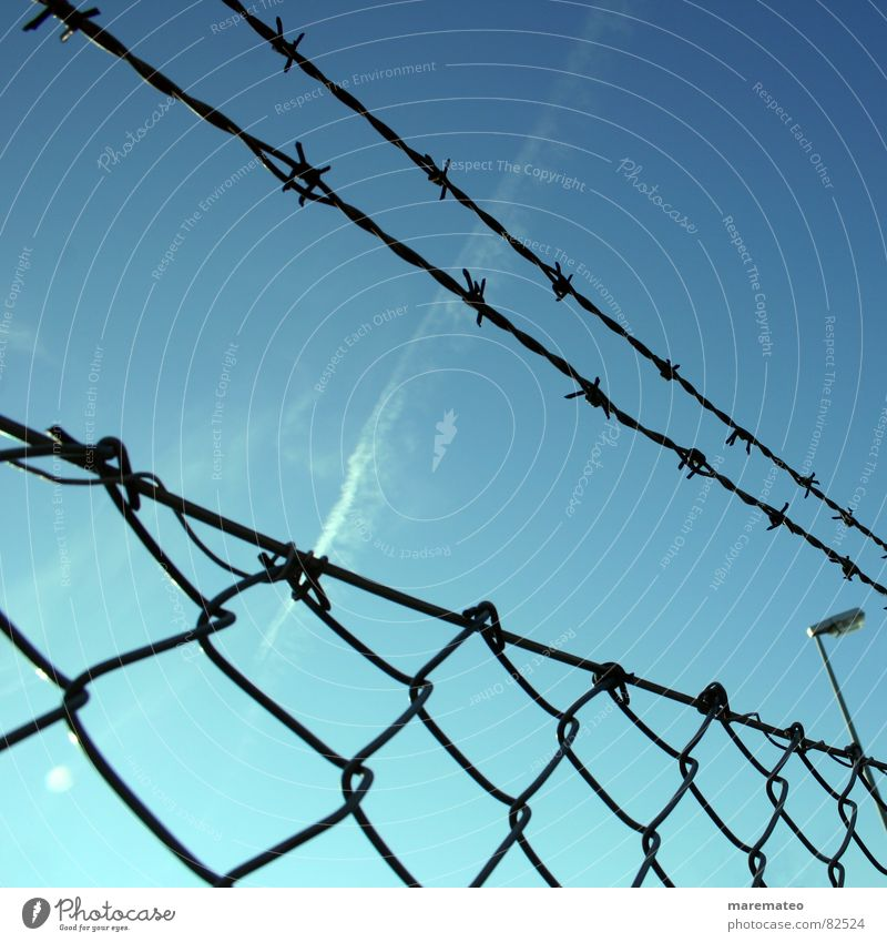 Sky Blue Freedom Closed Safety Infinity Border Fence Captured Barrier Limit Jail sentence Barbed wire Bound Conquer Plaited