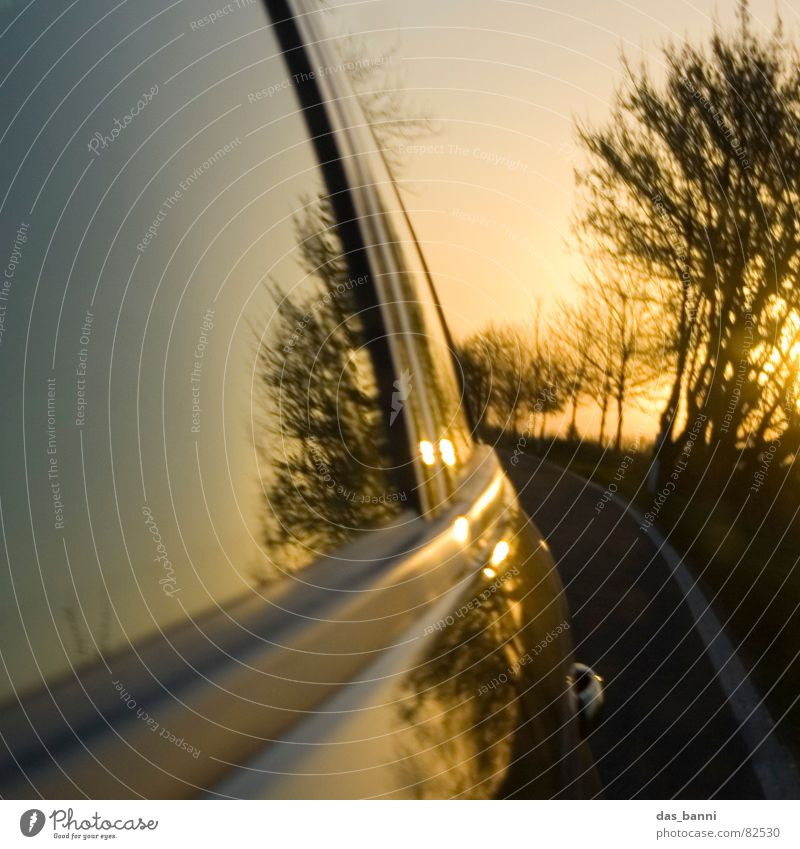turn around ² Carriage Freeway Airstream In transit Means of transport Speed Reflection Mirror Sunset Physics Autumn Cold Tree Window Window pane Asphalt Past