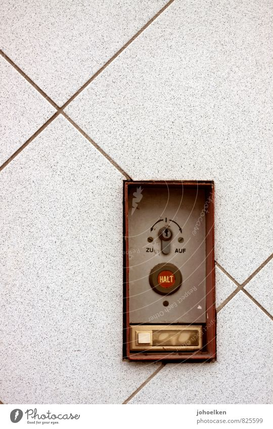 UT-Cologne 12/13 | Pasha | Copycat Switch Keyhole Facade Name plate Bell Garage door Stone Metal Square Line Brown Gray Red End Hold Stop Colour photo Detail