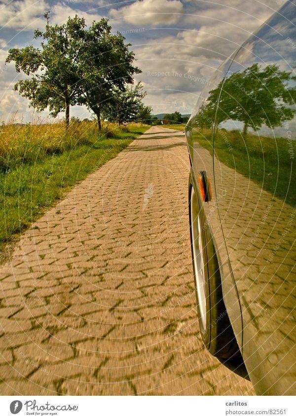 Sky Blue Green Tree Summer Clouds Lanes & trails Car Horizon Speed Driving Mirror Footpath Pavement Side Self portrait