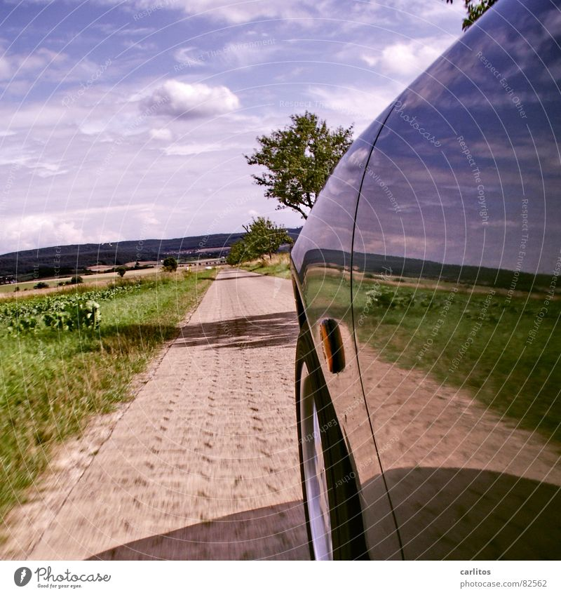 Sky Blue Green Tree Summer Clouds Lanes & trails Car Horizon Speed Driving Mirror Footpath Pavement Side Self portrait