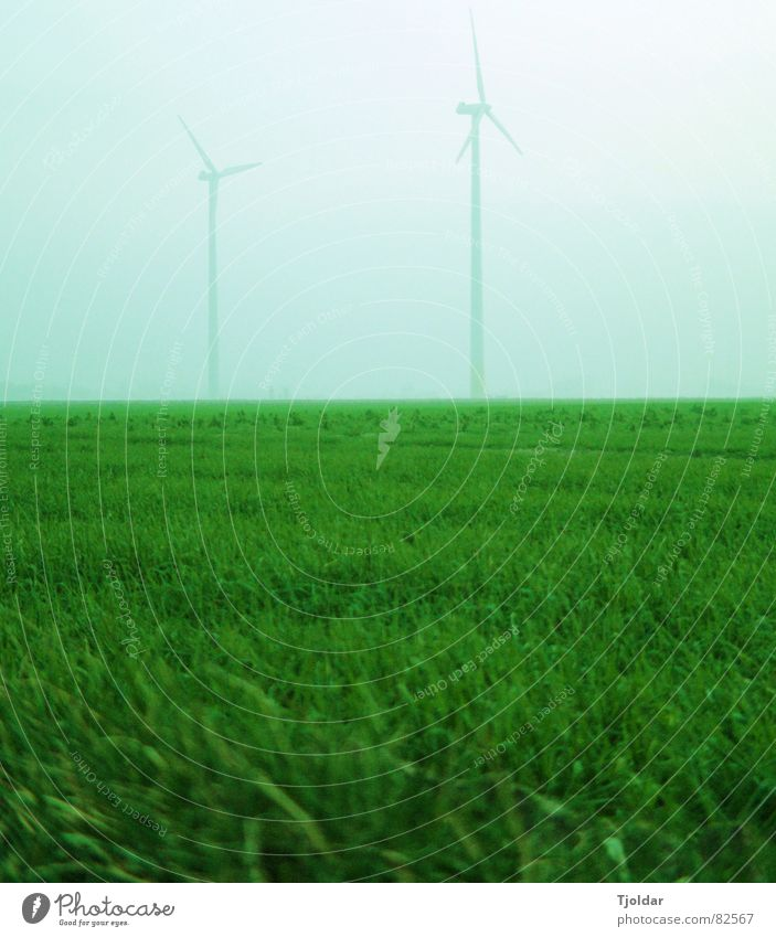 Sky Green Blue Winter Cold Meadow Gray Field Fog Energy industry Electricity Technology Wind energy plant Bad weather Electrical equipment Krefeld