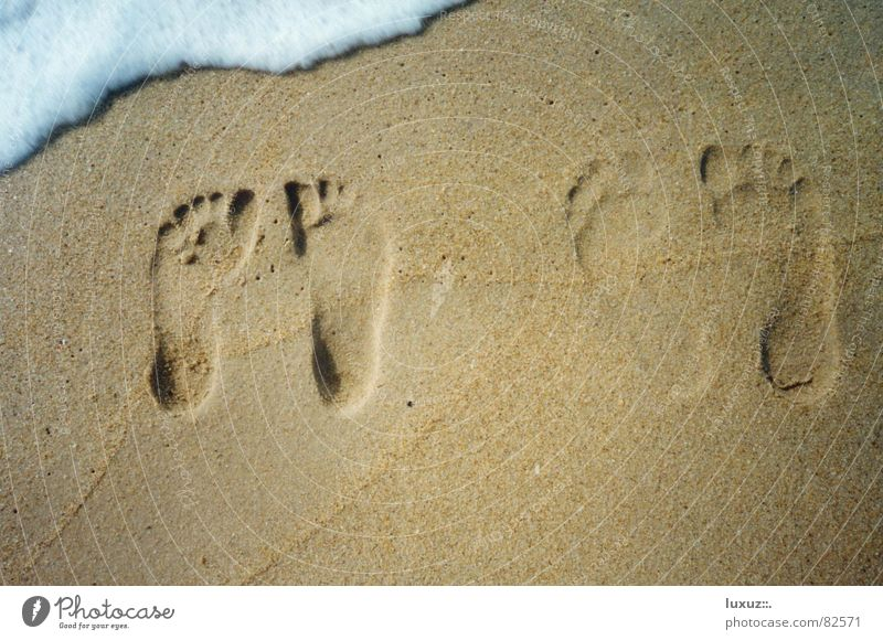 A moment of happiness Together Beach Transience Toes 2 Small Large Foam Stand Footprint Ocean Waves To enjoy Joy Wet Walk on the beach Barefoot Wait Sand