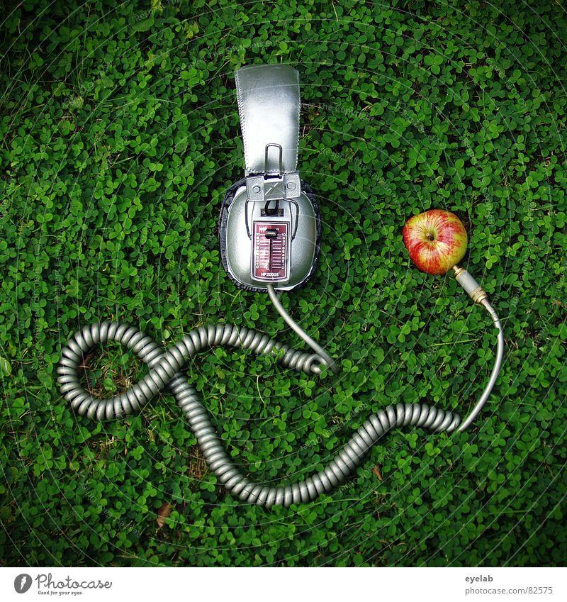 Nature Green Grass Garden Music Art Environment Fruit Technology Lawn Cable Apple Analog Listening Silver Headphones