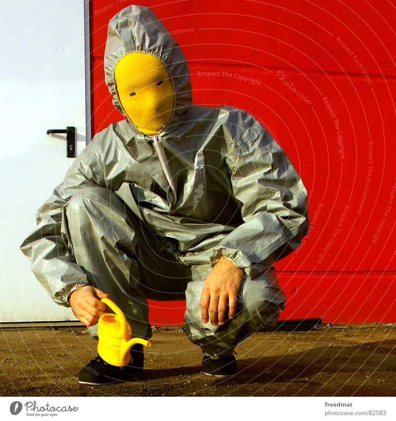 Red Joy Yellow Wall (building) Gray Art Funny Door Crazy Mask Suit Stupid Surrealism Rubber Futile Jug