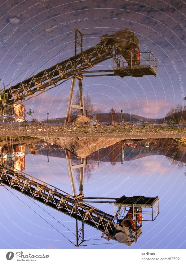 Water Winter Crazy Industry Construction site String Diagonal Puddle Symmetry Tilt Conveyor belt Subsidy Gravel pit