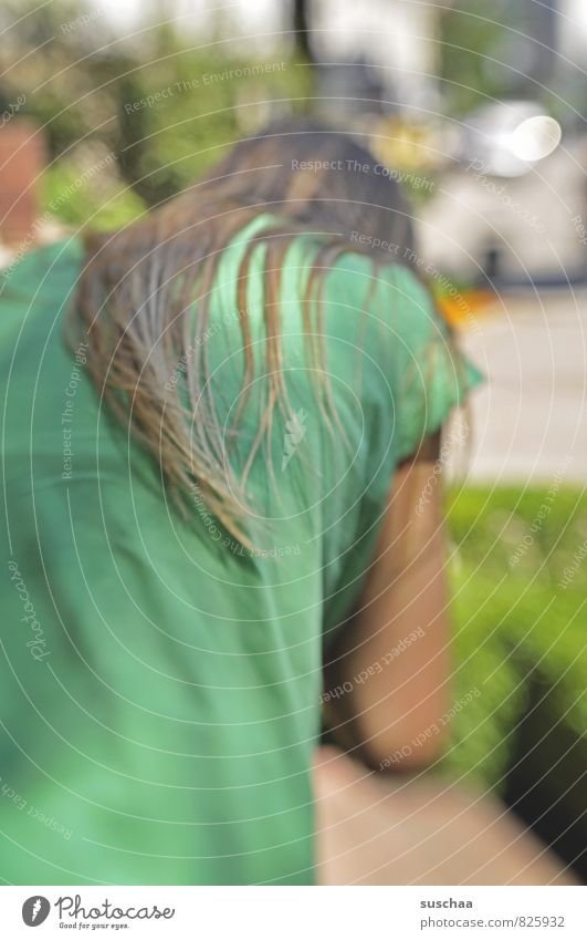 averted Feminine Child Girl Hair and hairstyles 1 Human being 8 - 13 years Infancy Brunette Long-haired Green Back Strand of hair Colour photo Subdued colour