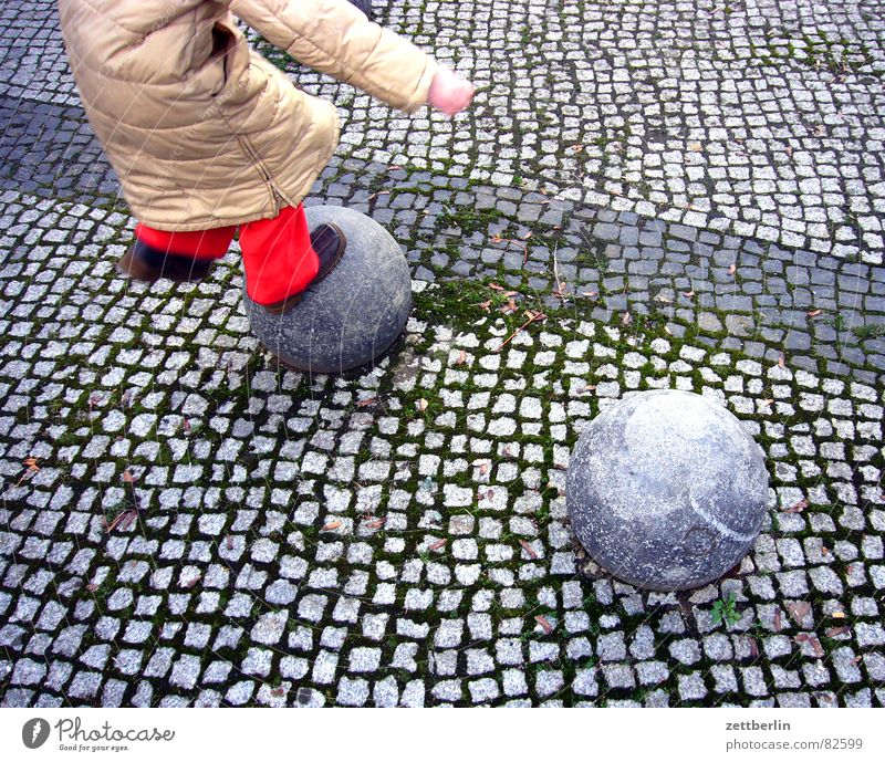 jump Child Girl Playing Jump Red Bollard Border Seam Playground Generation Children's game Pavement Hop Joy Detail demographic change war of the generations