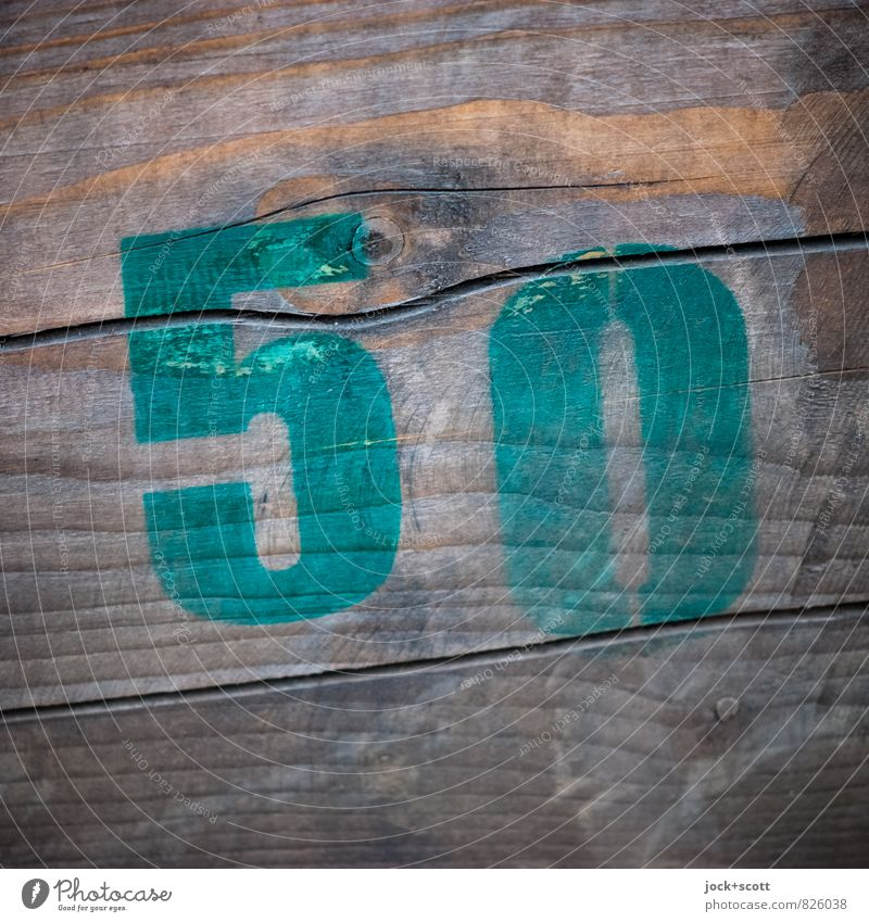 50 on wood Subculture Street art Typography Wood Signs and labeling Simple Brown Creativity Stencil Surface structure Weathered Ravages of time Minimalistic