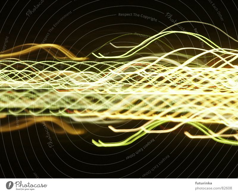 light landscape Muddled Light Waves Swing Painting and drawing (object) Experimental Night Classical Techno Tone Black Yellow Green Cloth Time Mysterious