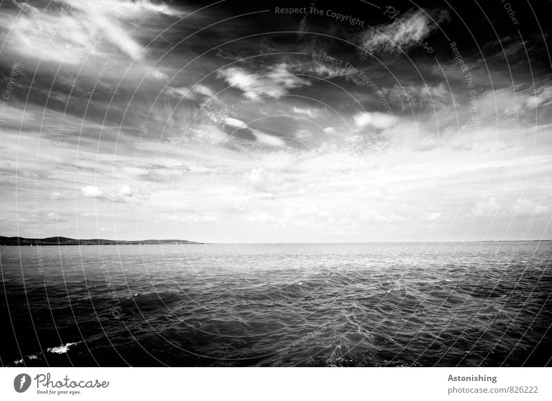 Lake Balaton Environment Nature Landscape Water Sky Clouds Horizon Sunlight Summer Weather Waves Coast Lakeside Hungary Threat Dark Gray Black White Swell