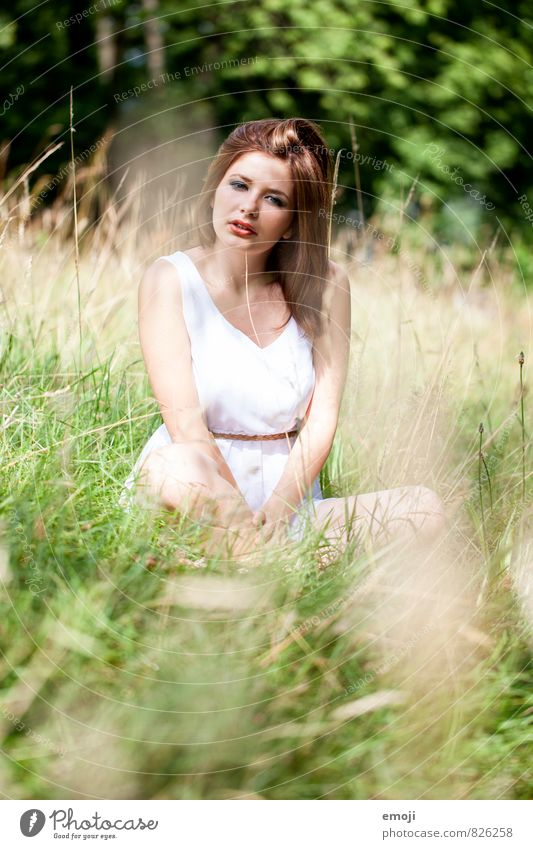once upon a time Feminine Young woman Youth (Young adults) 1 Human being 18 - 30 years Adults Nature Beautiful weather Meadow Natural Green Sit Cross Legged