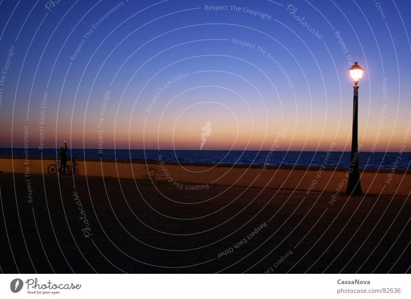 Lighthouse - tower Lamp Night Ocean Sunset Twilight Evening Harbour pilot Sky Human being Blue Dusk