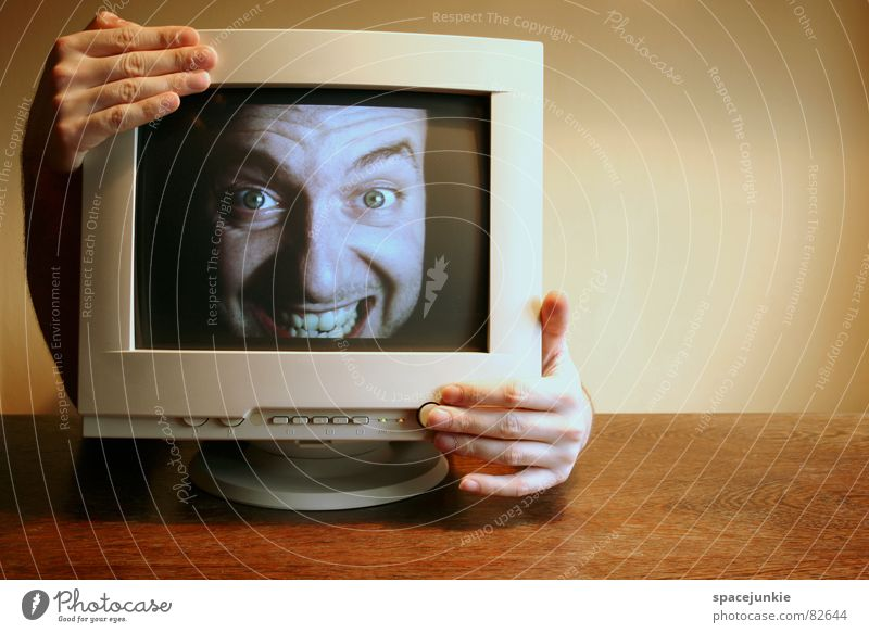 Hand Face Office Computer Business Human being Beginning Crazy Table Internet Man Write Advertising Exceptional Screen Hide