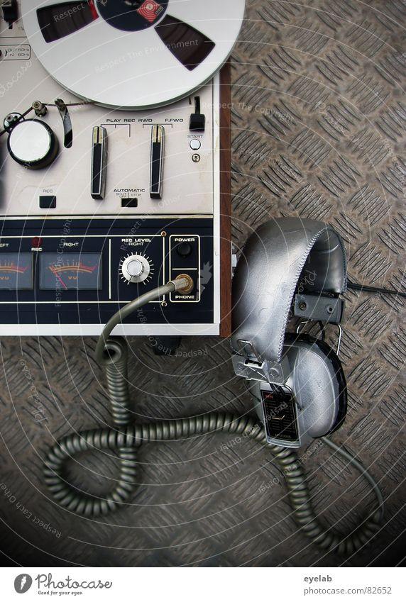 Music Metal Beginning Retro Technology Cable Stop Media Concert Analog Listening Steel Silver Foyer Headphones Tone