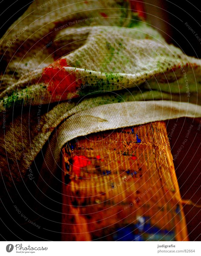 work Floor cloth Work and employment Painting (action, work) Dirty Smeared Multicoloured Red Green Atelier Boathouse Wipe Paintwork Wood Buck Grubby Action