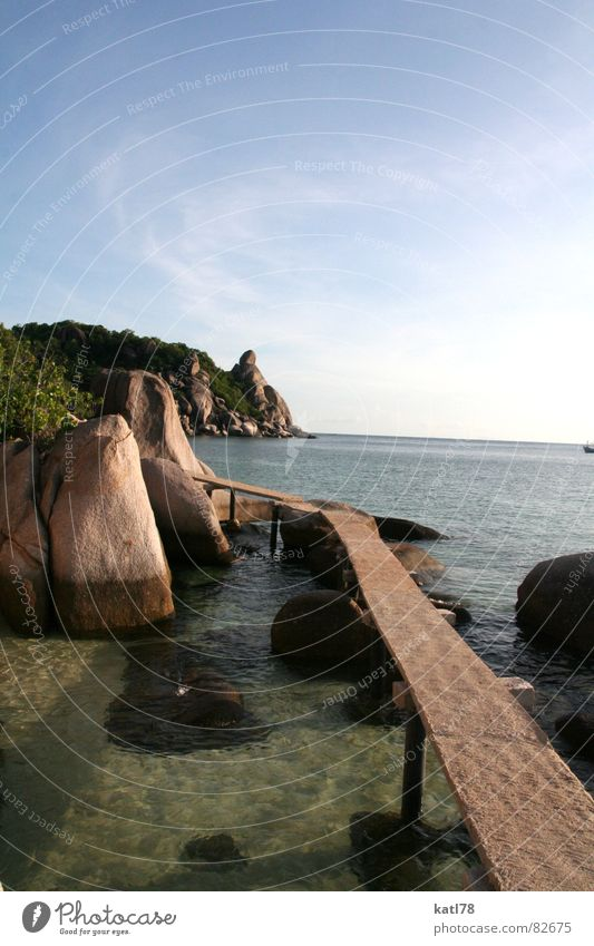 Catwalk in Thailand Ko Tao Footbridge Vacation & Travel Gorgeous Dream Going Dive Ocean Asia Paradise Lanes & trails Water Sun