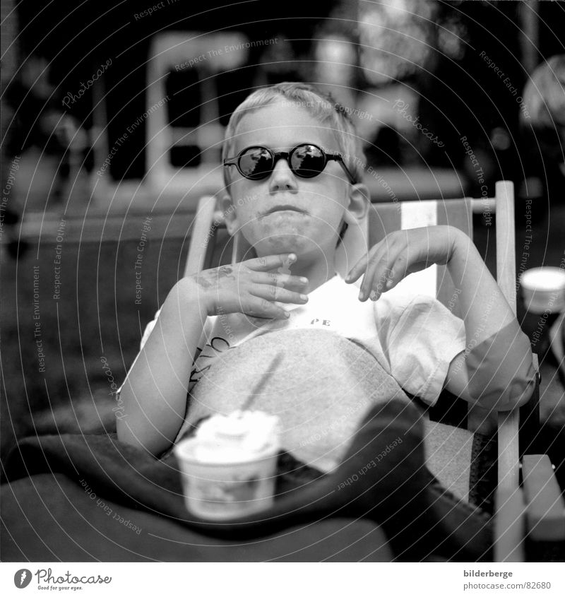 David's comfort pause Black & white photo Portrait photograph Joy Garden Feasts & Celebrations Kindergarten Child Boy (child) Nose Mouth Ice Frost Sunglasses
