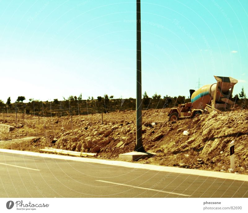 road works Construction site Building rubble Road construction Traffic infrastructure Summer Industry Street Earth Sky Old construction site vehicle
