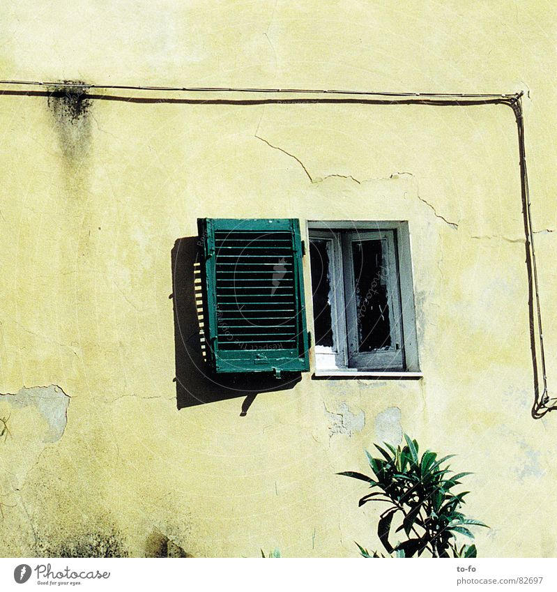 Summer Vacation & Travel Window Open Cable Italy Hot Transmission lines Tuscany Shutter Summer vacation time