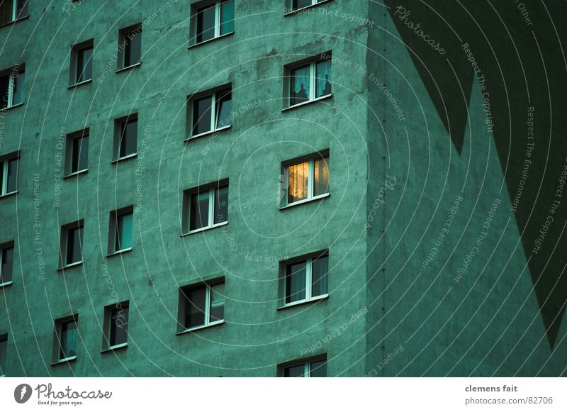 Green House (Residential Structure) Yellow Dark Window Sadness Bright Glittering High-rise Tall Grief Gloomy Story