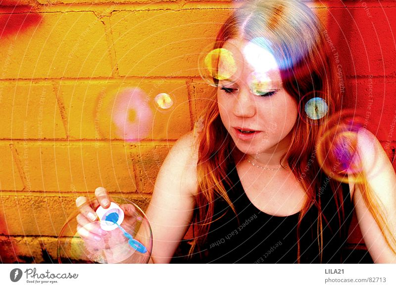 Woman Child Youth (Young adults) Girl Joy Colour Freedom Soap bubble Rainbow Childlike