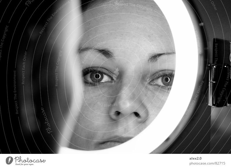 Woman Black Eyes Think Meditative Circle Mirror Concentrate Audience Skeptical Mirror image Self portrait Pupil Iris Portrait photograph