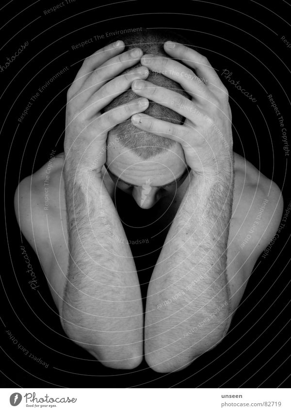 barred indoors Face Man Adults Head Arm Hand Fingers Dark Black Loneliness Distress Perspective Fellow Doomed Guy Black & white photo elbow Man`s head