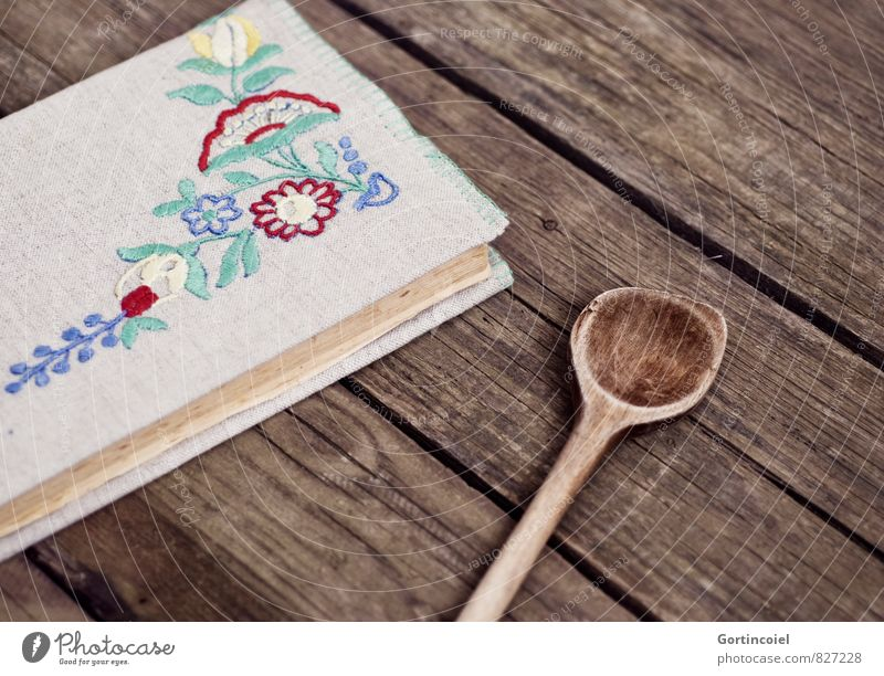 Old Decoration Book Ornament Wooden table Housekeeping Binding Wooden spoon Cookbook