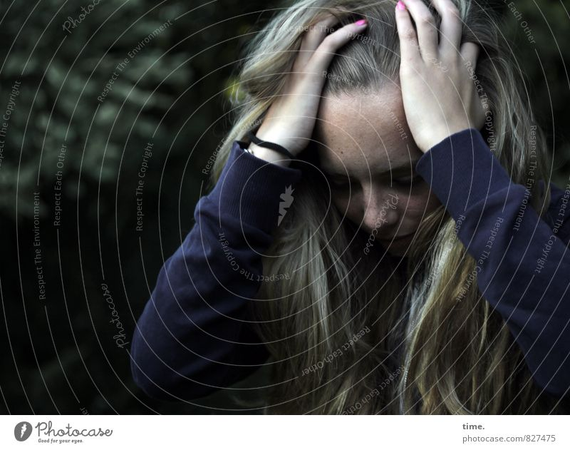 Human being Youth (Young adults) Young woman Dark Sadness Feminine Blonde Authentic Grief To hold on T-shirt Fatigue Stress Long-haired Distress Concern