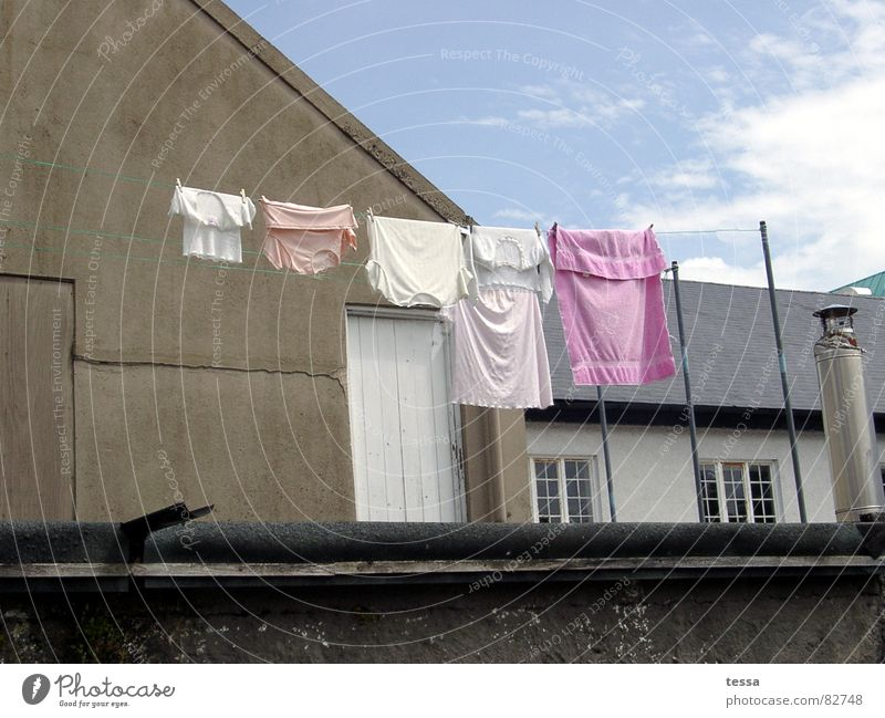 House (Residential Structure) Pink Farm Washing Laundry Backyard Washing day