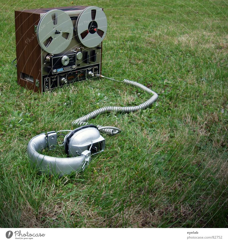 Garden party for singles Occur Summer Helix cable Headphones Audio tape Green Grass Controller Stereo Mono Stop Sound Listening Meadow Green space Radar station