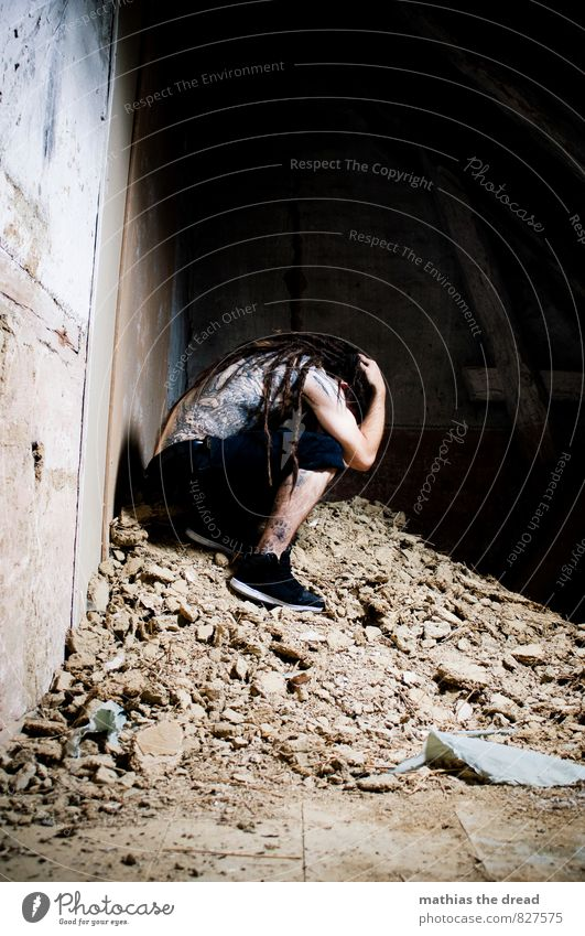 heap of rubble Human being Masculine Young man Youth (Young adults) Industrial plant Factory Ruin Building Architecture Crouch Sadness Emotions Moody Protection