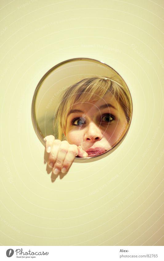 Woman Joy Wall (building) Blonde Circle Mirror Hide Surprise Amazed