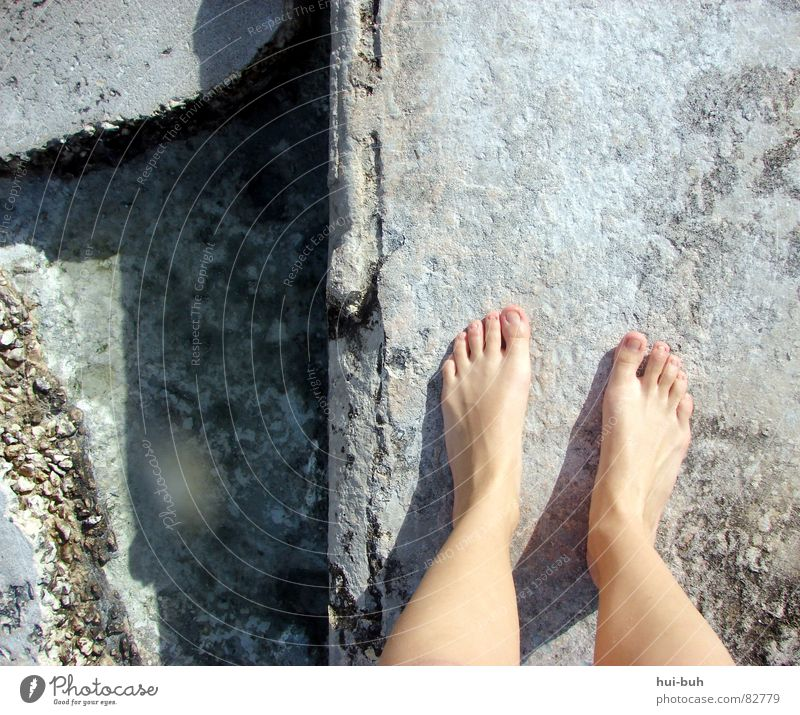 Water Ocean Above Lanes & trails Wall (barrier) Stone Legs Feet Line Going Dirty Wait Walking Concrete Toes Nail
