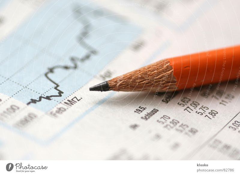 Management Business Orange Money Paper Reading Newspaper Observe Media Pen Illustration Curve Markets Share Stock market Pencil